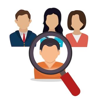 Recherche de ressources humaines embauche design isolé