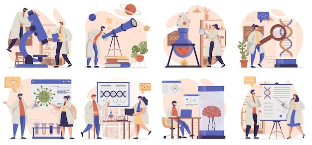 Recherche scientifique collection de scènes isolées les gens effectuent des tests étudient des molécules
