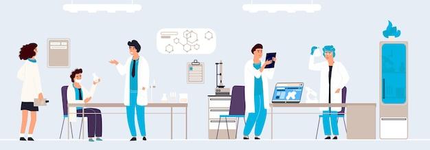 Recherche scientifique. gens de dessin animé en laboratoire faisant des analyses et des expériences, intérieur et équipement de laboratoire dessinés à la main. médecin isométrique de fond de vecteur