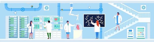 Recherche scientifique en illustration de laboratoire, des scientifiques de personnes plates de dessin animé font une expérience de laboratoire, travaillent sur ordinateur, équipement d'analyse