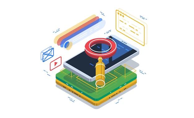 Recherche sécurisée via un navigateur dans un smartphone. système de recherche.