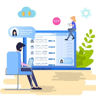 Recherche social profil personnel vector illustration