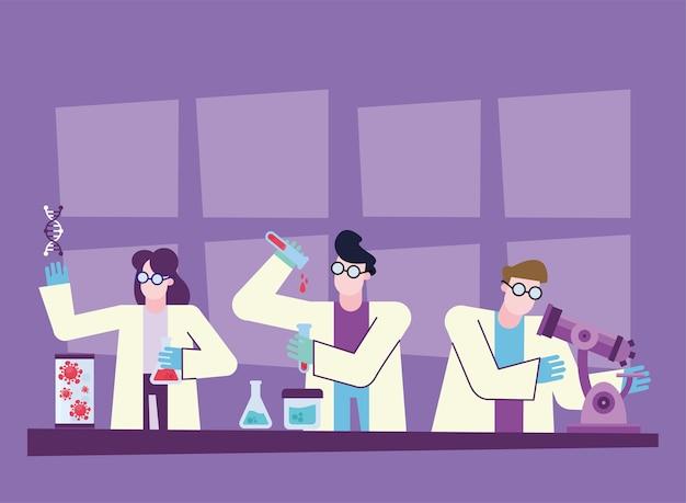 Recherche de vaccin contre le virus covid 19 avec femme chimique et hommes à la conception de bureau du thème 2019 ncov cov et coronavirus illustration vectorielle