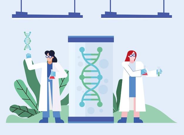 Recherche de vaccin contre le virus covid 19 et femmes chimiques avec conception d'adn de 2019 ncov cov et thème de coronavirus illustration vectorielle