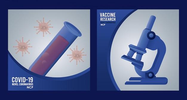 Recherche de vaccin covid19 avec conception d'illustration au microscope et à la loupe