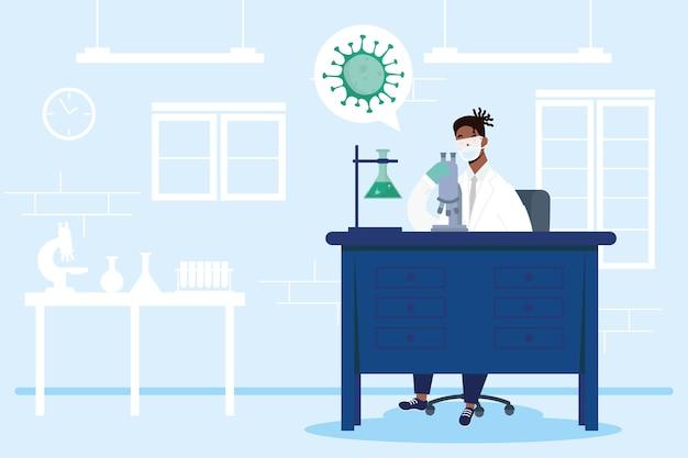 Recherche de vaccins avec la conception d'illustration vectorielle de caractère afro homme médecin