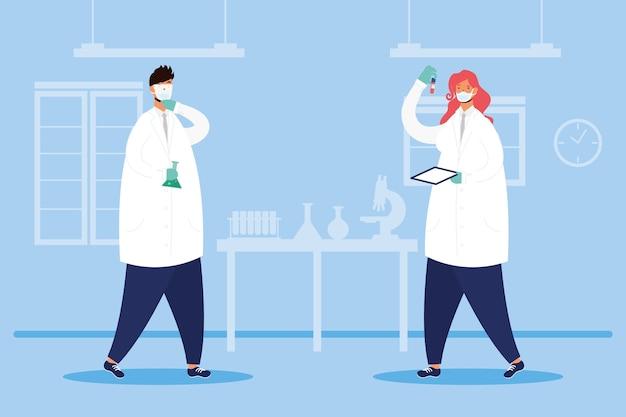 Recherche de vaccins avec des personnages de médecins couple vector illustration design