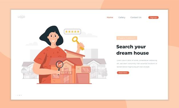 Rechercher l'illustration de la maison de rêve sur le concept de la page de destination