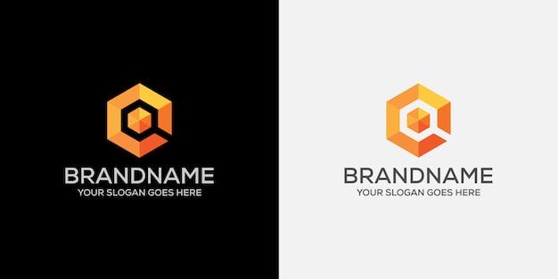 Rechercher logo orange cube abstrait