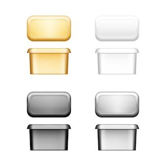 Récipient à beurre, fromage à pâte molle ou margarine avec maquette de couvercle - vue de face et de dessus