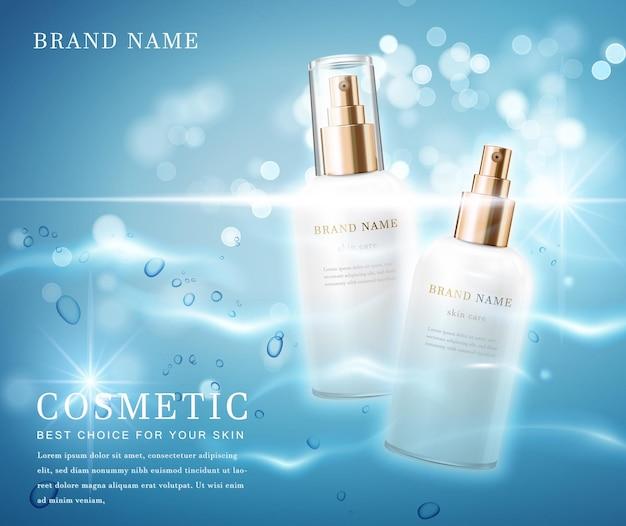 Récipient de bouteille cosmétique élégant avec bannière de modèle de fond scintillant de l'eau brillante.