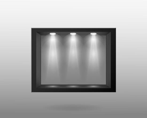 Récipient noir avec verre et avec éclairage intérieur
