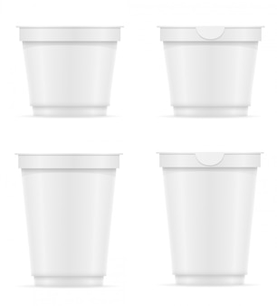 Récipient en plastique blanc blanc d'illustration vectorielle de yaourt ou de crème glacée