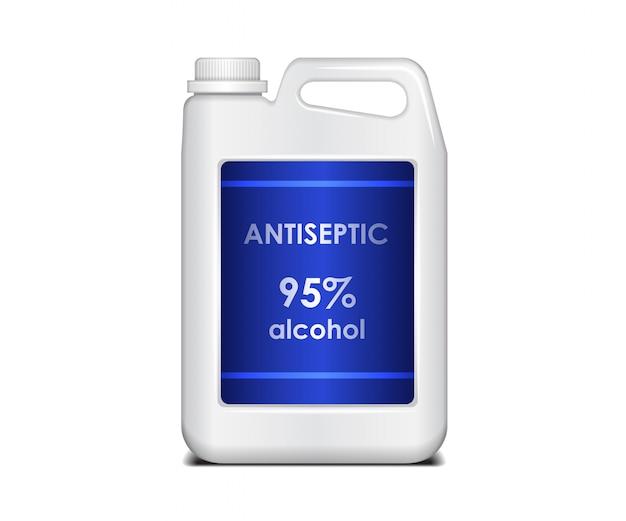 Récipient en plastique blanc. grand bidon avec antiseptique