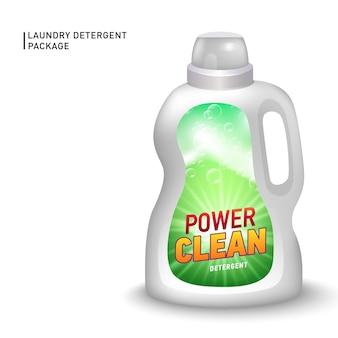 Récipient réaliste pour détergent liquide avec étiquette conçue.