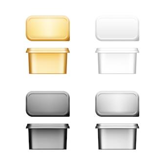 Récipients en plastoc de beurre, de fromage ou de margarine avec maquette de couvercle - vue de face et de dessus