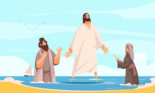 Récits bibliques composition de l'eau de jésus avec le personnage de griffonnage du christ marchant sur l'eau avec illustration de personnes en prière