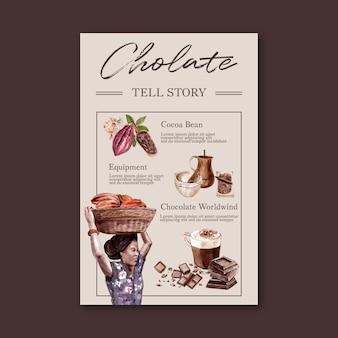 Récolte de chocolat et fabrication avec branche de cacao arbres aquarelle, infographie, illustration