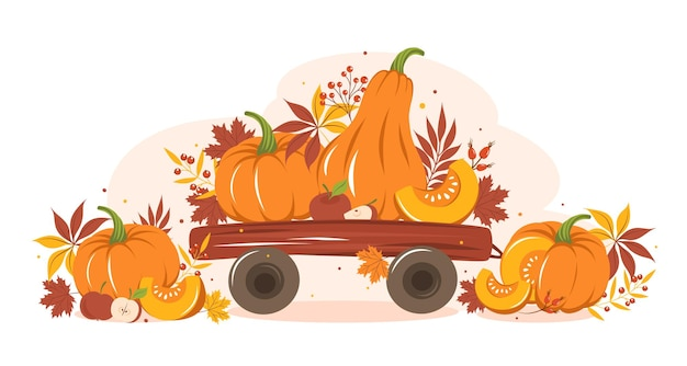 Récoltez la citrouille et les fruits sur un chariot avec des feuilles colorées d'automne joyeux thanksgiving