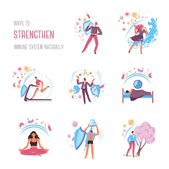 Recommandations pour renforcer le système immunitaire, règles et actions. dormez bien et mangez des aliments sains, méditez et restez calme, entraînez-vous au gymnase et passez du temps à l'extérieur. protection du vecteur de l'organisme à plat