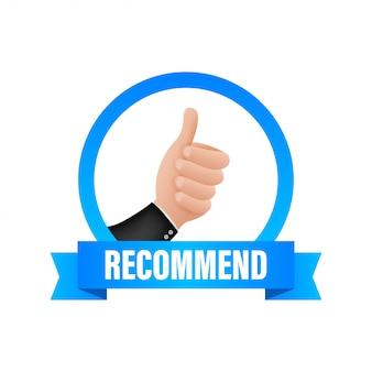 Recommander l'icône. étiquette blanche recommandée sur fond bleu. illustration de stock