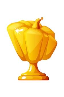 Récompense de citrouille d'or d'halloween pour les jeux d'interface utilisateur. illustration vectorielle du prix du gagnant pour la conception graphique.