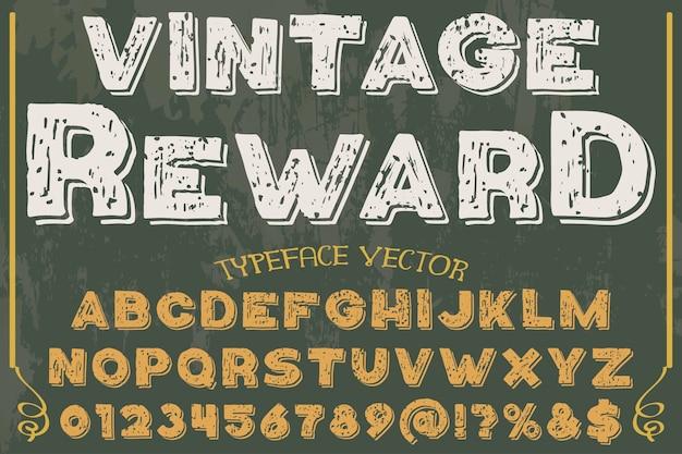 Récompense de conception de police typographie alphabet vintage
