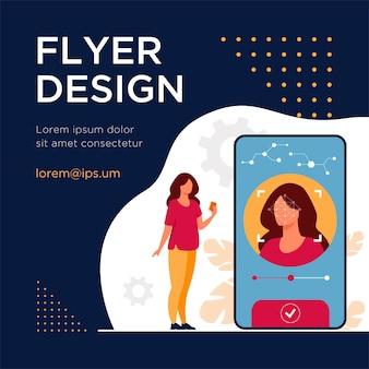 Reconnaissance faciale et sécurité des données. les utilisateurs de téléphones portables ont accès aux données après vérification biométrique. modèle de flyer