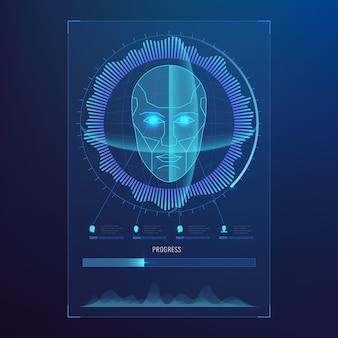 Reconnaissance numérique du visage, balayage biométrique de la carte d'identité vers un résumé d'accès sécurisé