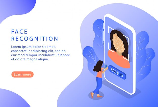 Reconnaissance de visage. id de visage. isométrique. page de destination pour les sites web.