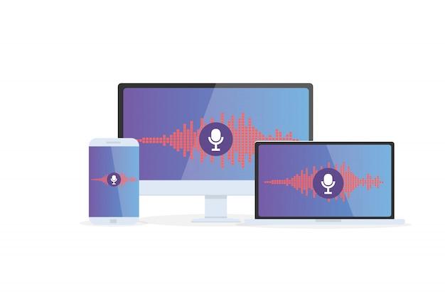 Reconnaissance vocale assistant personnel sur application mobile. illustration de concept d'appareil avec icône de microphone à l'écran et lignes d'imitation vocale et sonore.