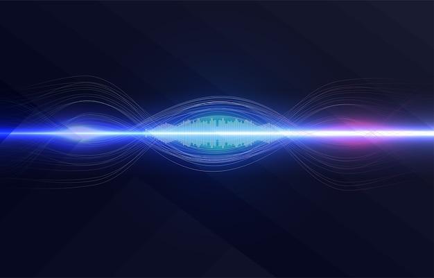 Reconnaissance vocale, égaliseur, enregistreur audio. bouton de microphone avec onde sonore.