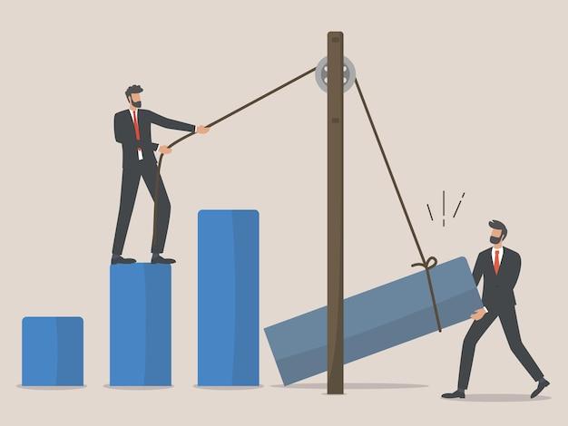 Reconstruction d'entreprise, employés ou homme d'affaires reconstruisent une entreprise après une épidémie de covid, travail d'équipe