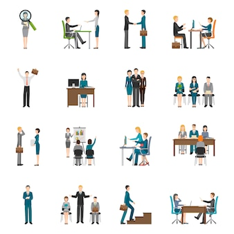 Recruitment hr people icons set
