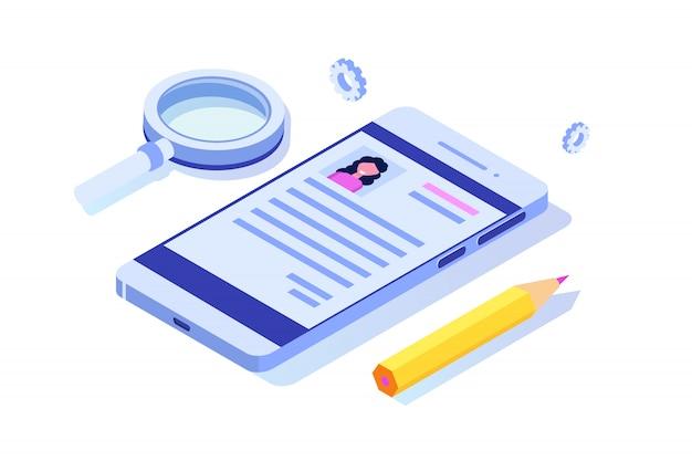 Recrutement, concept isométrique de recherche d'emploi. utilisez pour la présentation, les médias sociaux, les cartes, la bannière web. illustration