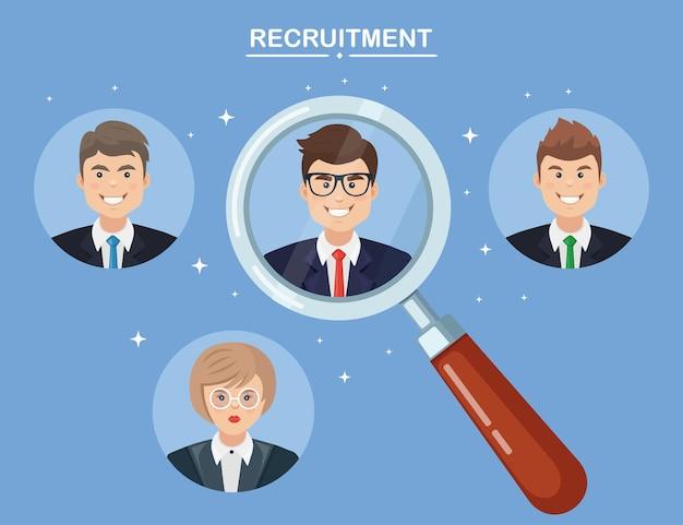 Recrutement, embauche d'employé. choix du candidat commercial à la loupe. ressource humaine