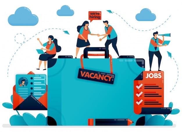 Recrutement d'embauche. illustration de concept de poste vacant