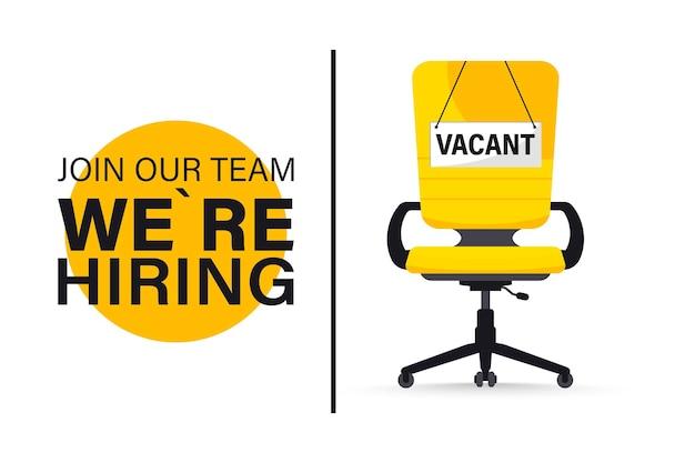 Recrutement ou embauche, poste à pourvoir. concept d'embauche et de recrutement d'entreprise. nous recrutons. poste vacant avec chaise de bureau vide avec vacant avec un signe nous avons besoin de vous. illustration vectorielle de chaise de bureau