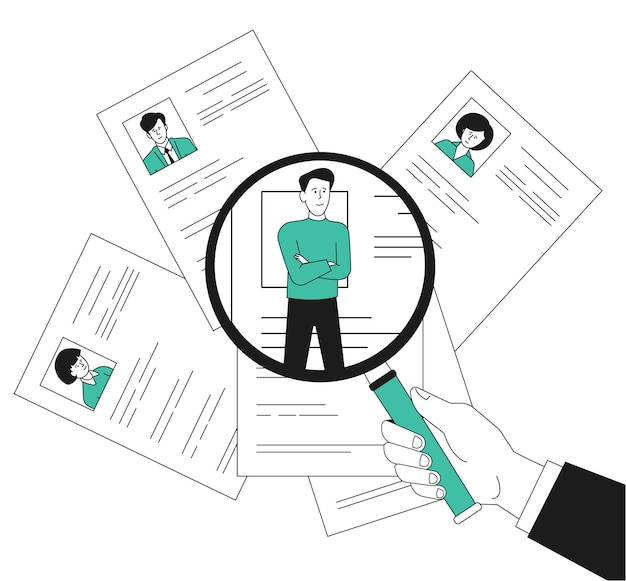 Recrutement d'équipe. rh sur l'employé à la loupe, gestionnaire humain. embauche d'une équipe commerciale, d'un cv ou d'un cv. rechercher un concept de vecteur récent d'emploi. ressources de choix d'illustration, recrutement de personnel