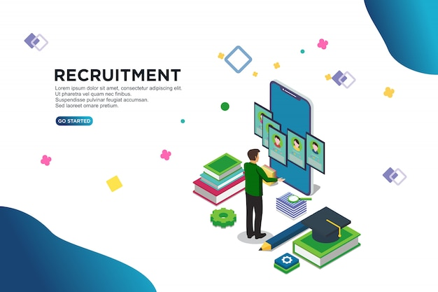 Recrutement isométrique vector illustration concept