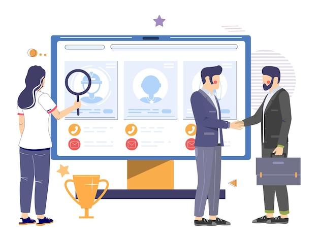 Recrutement en ligne embauche ressources humaines illustration vectorielle recrutement électronique ou rec...