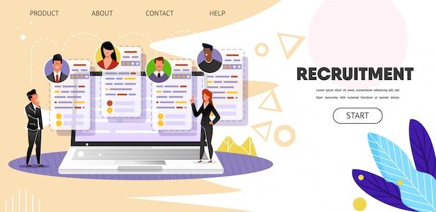 Recrutement. recherche d'emploi en ligne. web, page de destination