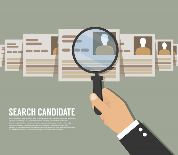 Recrutement. zoom main loupe cueillette homme d'affaires, groupe de personnes candidates, illustration vectorielle plane
