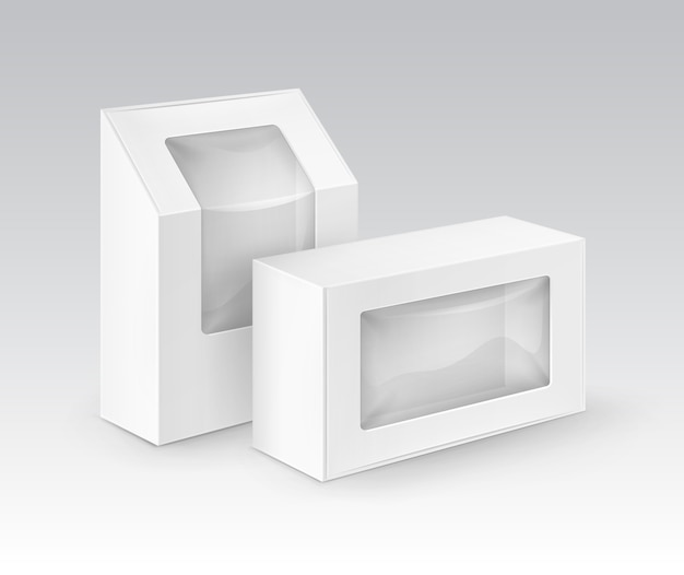 Le rectangle blanc blanc de carton emportent l'emballage de boîtes pour le sandwich