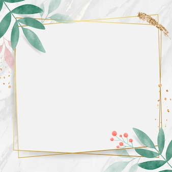 Rectangle doré avec cadre feuillu aquarelle