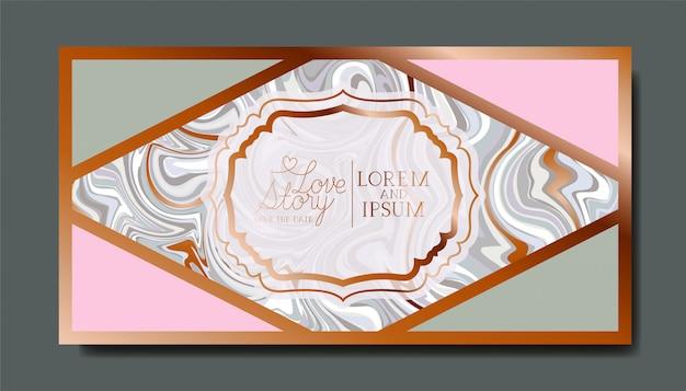Rectangle doré avec texture en marbre de cadre victorien