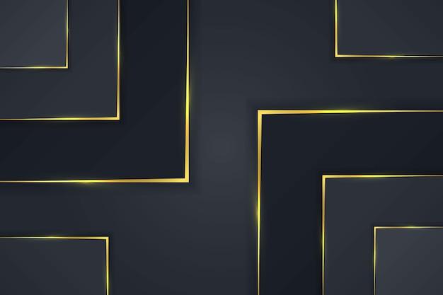 Rectangle de fond de luxe simple avec un design vectoriel dégradé doré foncé