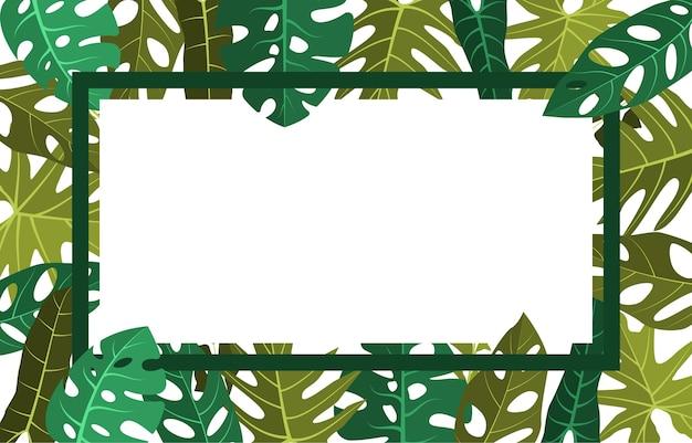 Rectangle vert plante tropicale été feuille bordure cadre fond