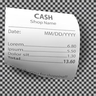 Reçu de boutique réaliste, chèque de facture papier
