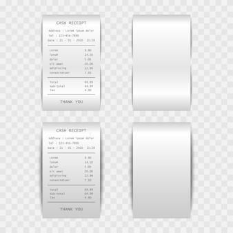 Reçu de caisse de facture papier isolé sur fond transparent